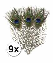 9x veren in pauwen kleuren 25 cm