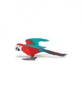 Ara papegaai rood van plastic 10 cm