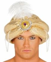 Arabische sultan hoed met veer goudkleurig
