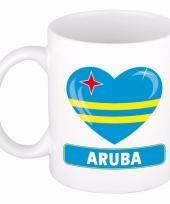 Arubaanse vlag hart mok beker 300 ml