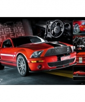 Auto poster ford mustang rood 61 x 91 5 cm