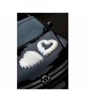 Auto trouwversiering open rozenhart wit