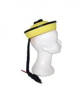 Aziatisch hoedje geel met vlechtje