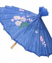 Aziatische paraplu met bloemen groot blauw