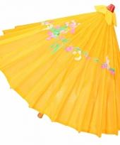 Aziatische paraplu met bloemen groot donker oranje
