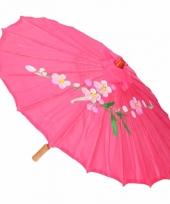 Aziatische paraplu met bloemen groot fuchsia