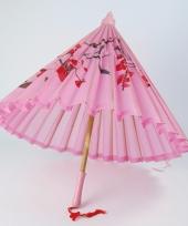 Aziatische paraplu roze met bloemen