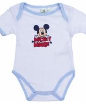 Baby kado mickey rompertje wit lichtblauw