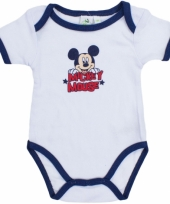 Baby kado mickey rompertje wit navy
