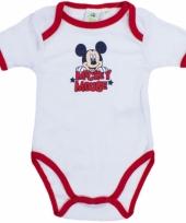 Baby kado mickey rompertje wit rood
