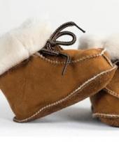Baby pantoffels van lamsleer