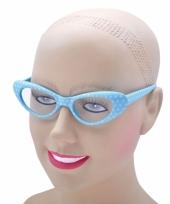 Babyblauwe gestipte sixties bril