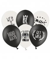 Ballonnen black and white party 6x