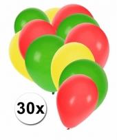 Ballonnen groen geel rood 30 stuks