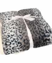 Bankdeken sneeuwluipaard print antraciet 140 x 200 cm