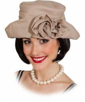 Beige jaren 20 hoed voor dames