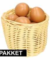 Beige paasmandje met eieren 14 cm