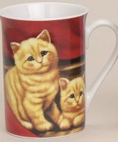 Beker met schattige katjes rood 10 cm