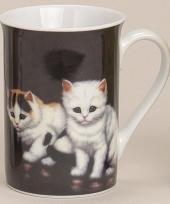 Beker met schattige katjes zwart 10 cm