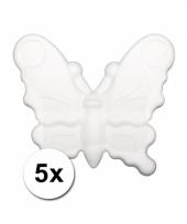 Beschilderbare vlinder van piepschuim 5 stuks