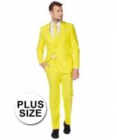 Big size heren kostuum geel