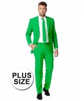 Big size heren kostuum groen