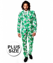 Big size kostuum met kaarten print