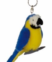 Blauw ara sleutelhangertje 10 cm
