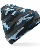 Blauw arctic camouflage gebreide skimuts voor volwassenen