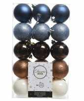 Blauw bruin witte kerstboomballen set 6 cm