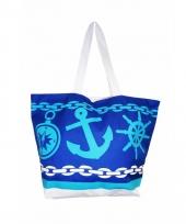 Blauw donkerblauwe strand tas ancre 58 cm