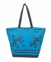 Blauw donkerblauwe strand tas gekko 58 cm