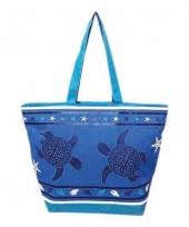 Blauw donkerblauwe strand tas turtle 58 cm