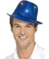 Blauw glitter hoedje met led verlichting