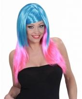 Blauw met roze pruik voor dames