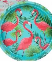 Blauw metalen dienblad met flamingo palm print 33 cm