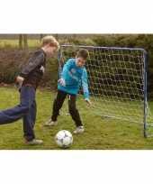 Blauw metalen voetbal goal 182 x 122 cm