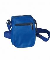 Blauw schoudertasje van polyester 15 cm