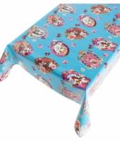 Blauw tafellaken vrolijk motief 140 x 240 cm
