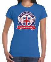 Blauw united kingdom drinking team t-shirt dames