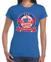 Blauw usa drinking team t-shirt dames