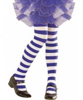 Blauw wit gestreepte peuter panty
