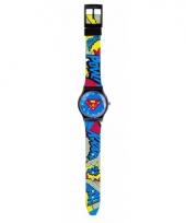 Blauwe analoge superman horloges voor jongens meisjes