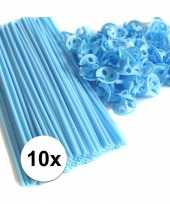 Blauwe ballonnenstaafjes ballonnenstokjes 10 stuks 10099526