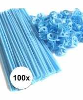 Blauwe ballonnenstaafjes ballonnenstokjes 100 stuks 10099514