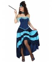 Blauwe cancan danseressen jurk