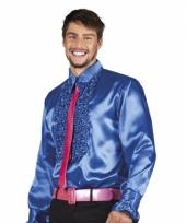 Blauwe disco blouse voor heren