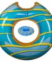 Blauwe donut zwemringen zwembanden en drankhouders bekerhouders set
