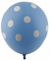 Blauwe feest ballonnen met witte stippen 30 cm 5st