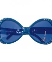 Blauwe feest bril met diamantjes